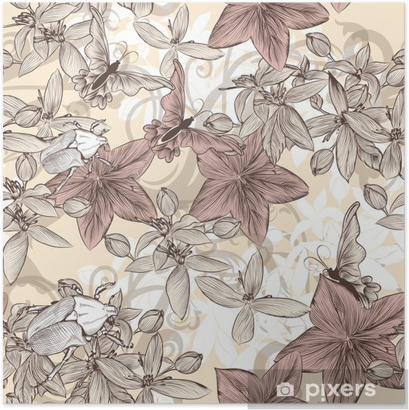 Seamless Vector Wallpaper Pattern In Vintage Floral Style Poster