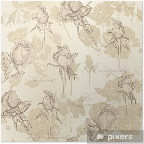 Seamless Vector Wallpaper With Roses In Vintage Style Poster
