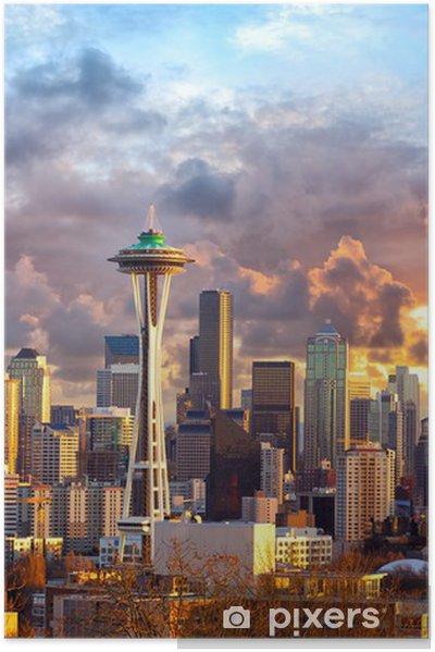 Seattle Skyline At Sunset Wa Usa Poster Pixers 174 We