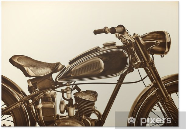Sepia toned image of a vintage motorcycle Poster - Transport