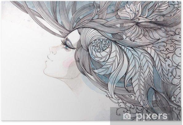 Poster Ses cheveux orné de feuillages - Mode