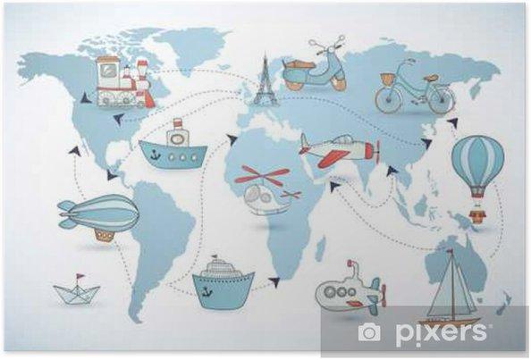 Póster Set de viaje. Colección de los iconos en el mapa mundial. - Transportes