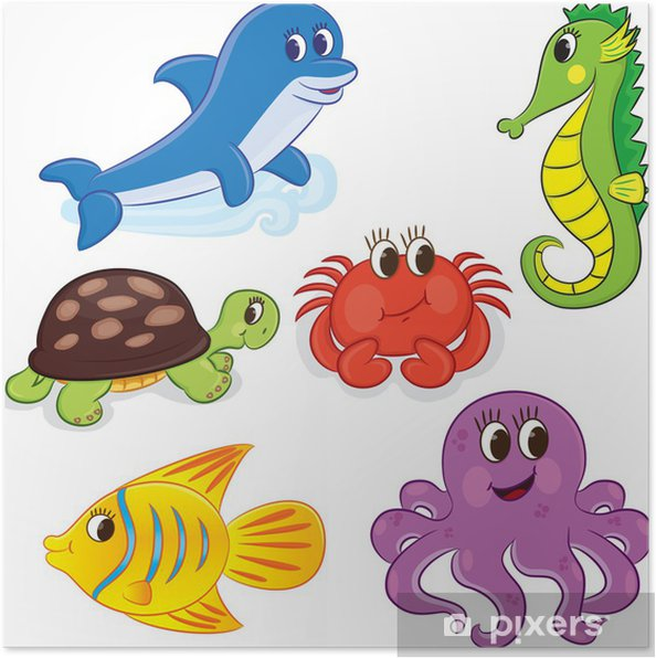 Set Of Cartoon Sea Animals Vector Illustration For Coloring Poster