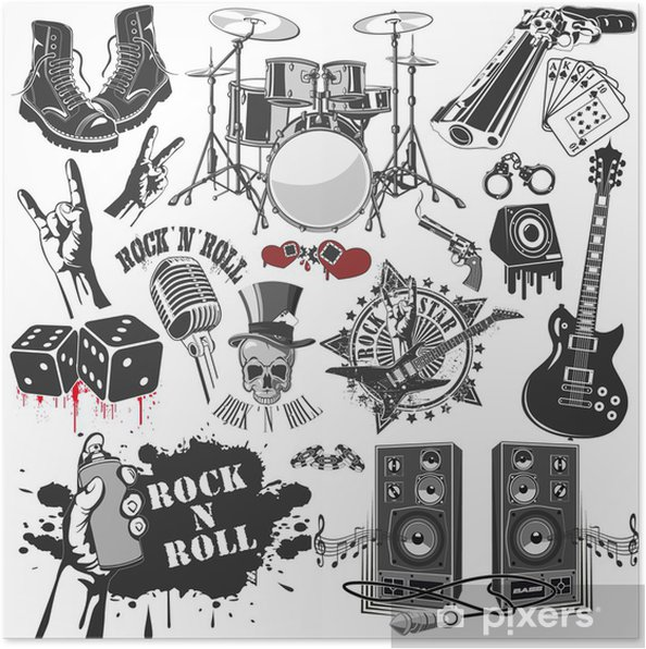 570f2ed13 set of vector symbols related to rock and roll Poster • Pixers® • We ...