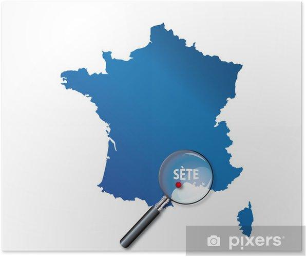 sete carte de france Sète : Carte de France   département de l'Hérault Poster • Pixers