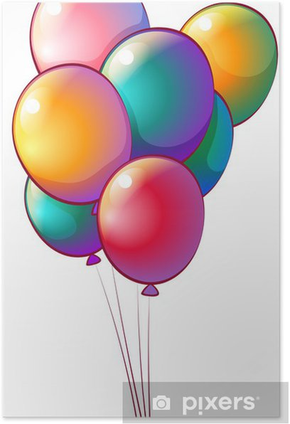 Seven rainbow-colored balloons Poster - Games