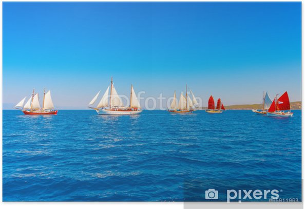 Several Old Wooden Sailing Boats In Spetses Island In Greece Poster