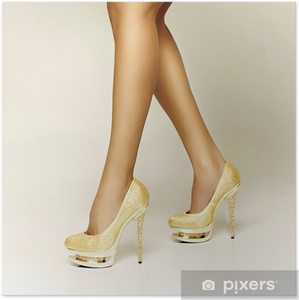 0e5528857ac Poster Sexig guld flicka skor • Pixers® - Vi lever för förändring