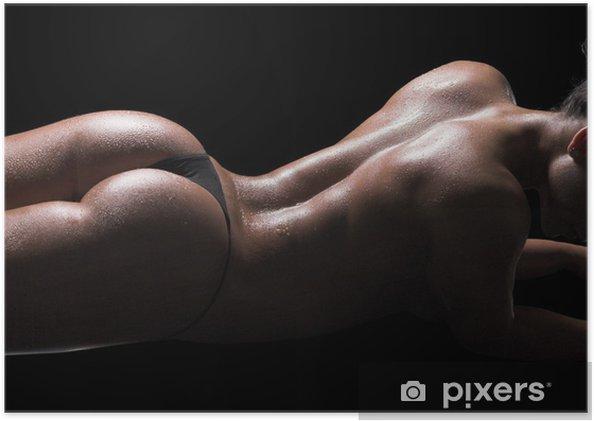 Poster Sexig kvinna kropp, våt hud, svart bakgrund - Kvinnliga akter