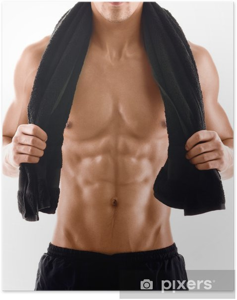 Sexy body of muscular athletic man with towel on the shoulders Poster - Health