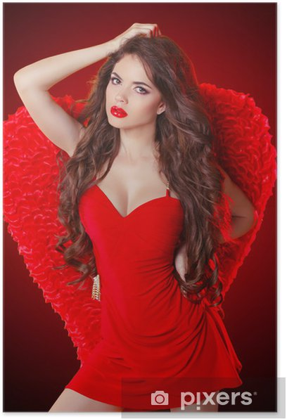 Sexy Brunette Lady With Red Wings Dancing In Club Party Poster