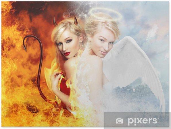 Póster Sexy diablo vs magnífico ángel - Mujeres