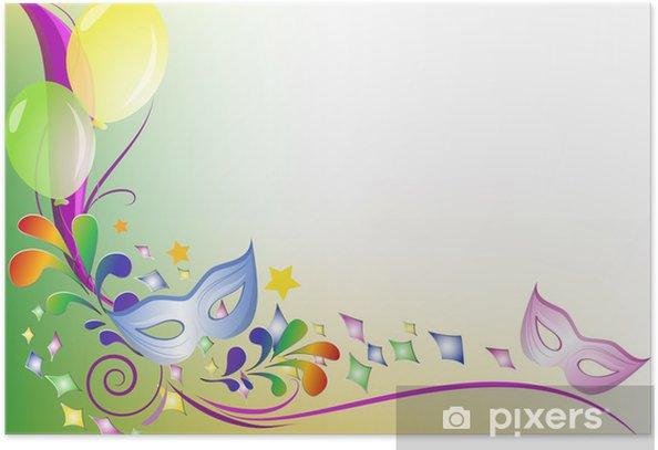 Sfondo Colorato Festa Mascherine Palloncini E Coriandoli Poster
