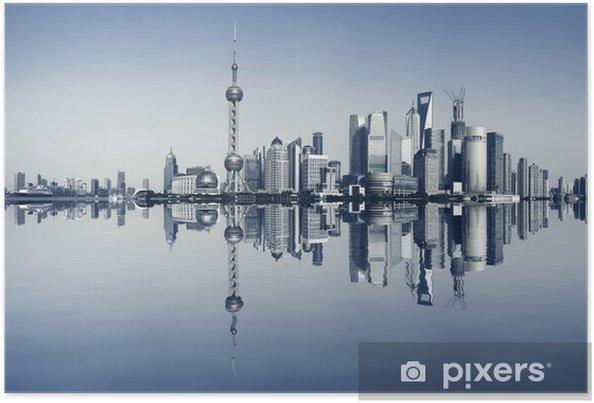 Poster Shanghai bund vid stadslandskap panorama skyline - Teman