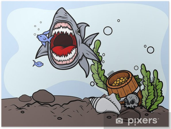 Poster Shark Attraper du poisson - Vector Illustration - Animaux marins