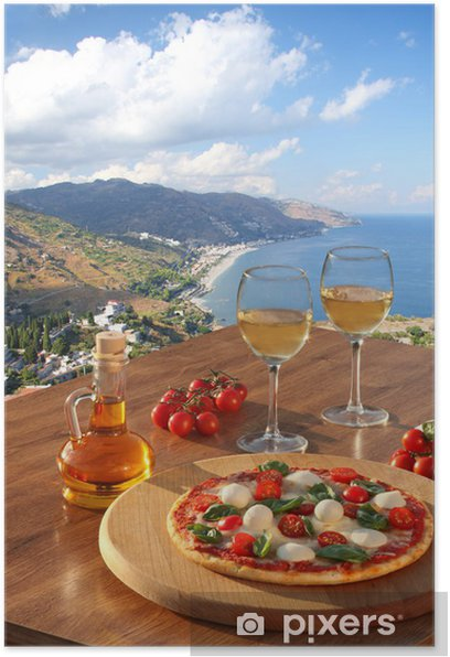 Sicily With Pizza And White Wine Taormina Italy Poster Pixers