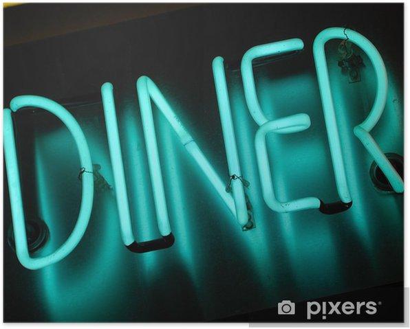 Poster Signe de wagon-restaurant de néon. - Situations