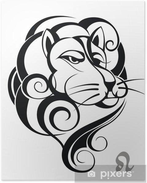Poster Signe De Zodiaque De Lion Conception De Tatouage Pixers