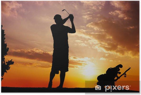 Poster Silhouette d'un homme balançant - Golf