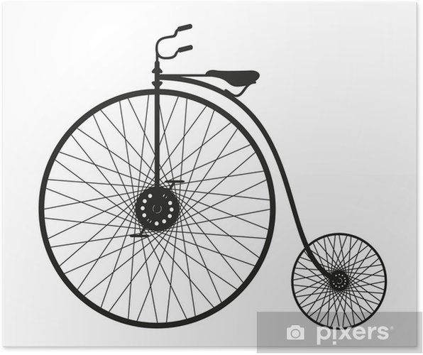 Poster Silhouette d'une vieille bicyclette - Sports individuels