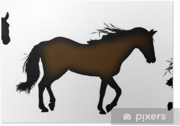 Poster Silhouette de chevaux debout, trot, galop et - Sticker mural