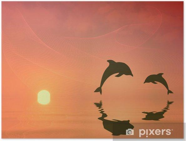 Poster Silhouette de dauphins sautant - Thèmes