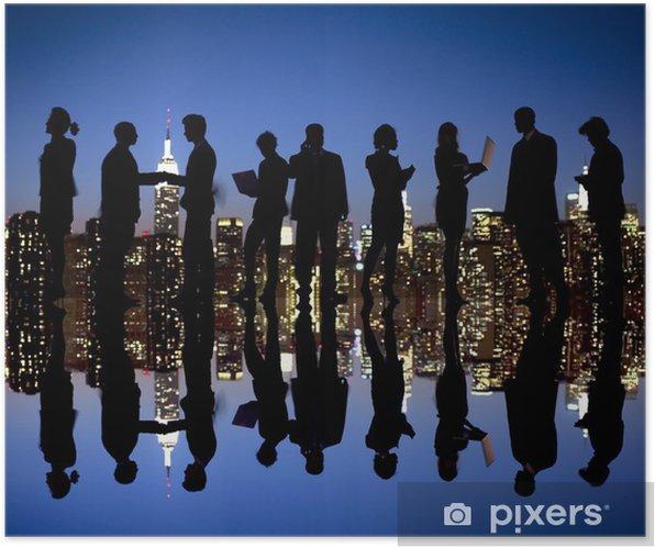 Poster Silhouette de gens d'affaires à horizon de New York - Groupes et foules