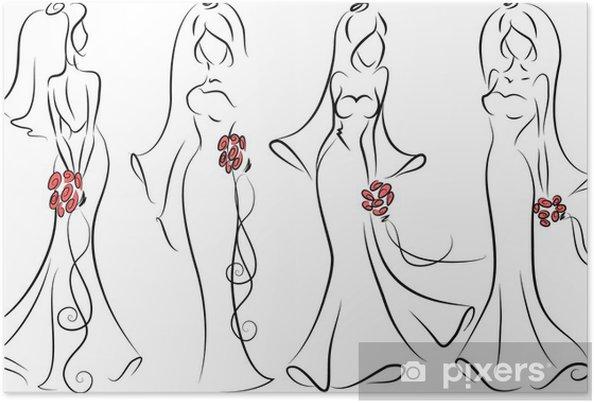 Poster Silhouette de la mariée, fond, invitation de mariage - Célébrations