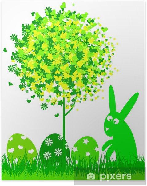 Poster Silhouette du lapin de Pâques et les oeufs pour vecteur - Fêtes internationales