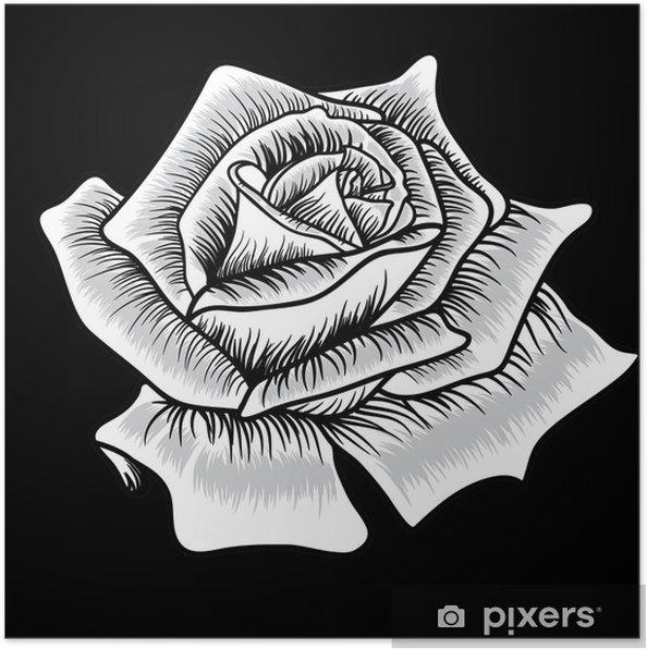 Poster Silhouette noire de rose sur fond noir - Fleurs