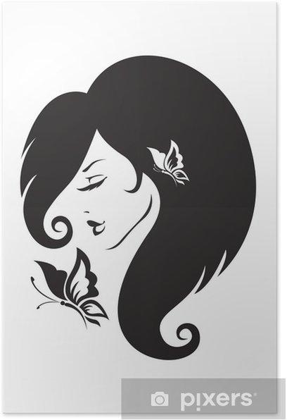 Poster Silhouette noire et blanche de la jeune fille - Parties du corps
