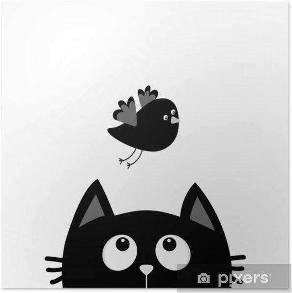 Poster Silhouette Tête De Chat Noir à La Recherche Doiseau En Vol Personnage De Dessin Animé Mignon Animal Kawaii Carte De Bébé Collection