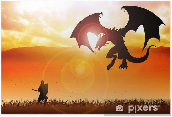 Poster Silhuett illustration av en riddare slåss en drake - Riddare