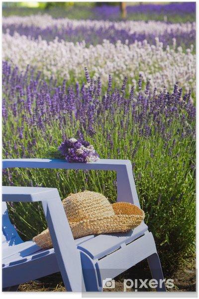 Póster Silla azul en un campo de color púrpura de la lavanda - Temas