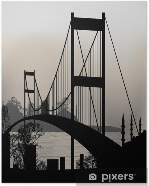 Póster Silueta de Estambul y el Puente del Bósforo - Estilos