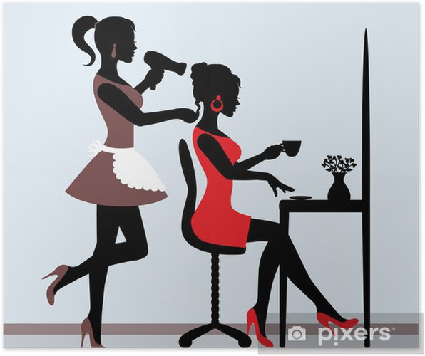 Póster Silueta femenina en la peluquería. -