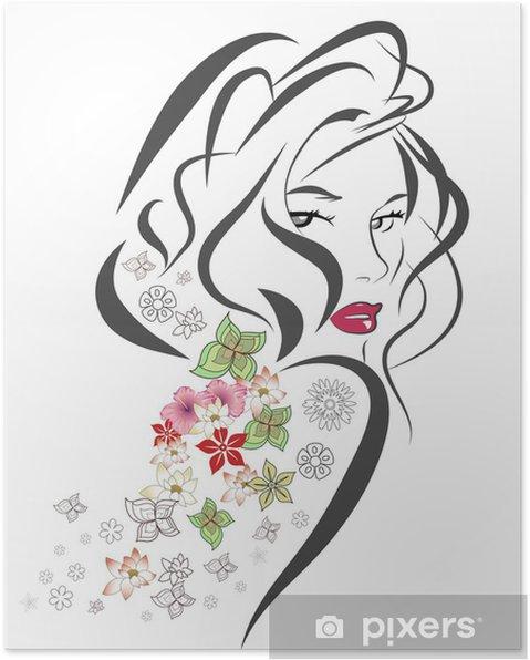 Poster Siluett av kvinna med blommor - Ansikten