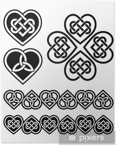 Póster Símbolos vectoriales conjunto - nudo del corazón celta ...