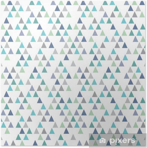 Póster Sin fisuras patrón geométrico inconformista triángulo azul aqua - Recursos gráficos