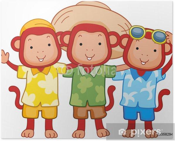 Poster Singe amis - Mammifères