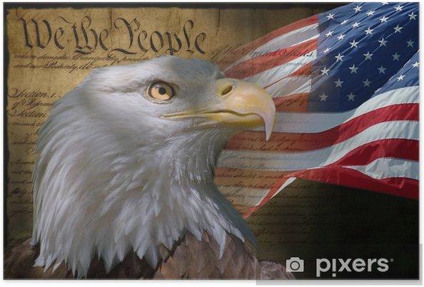 Poster Skallig örn och amerikanska flaggan - Teman