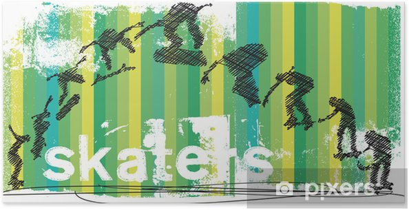 Poster Skateboarder jumping abstrait. Vector illustration - Sports individuels