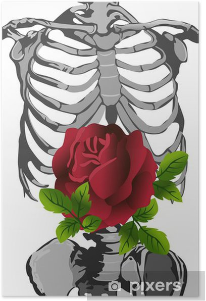 skeleton and rose Poster - Body Parts