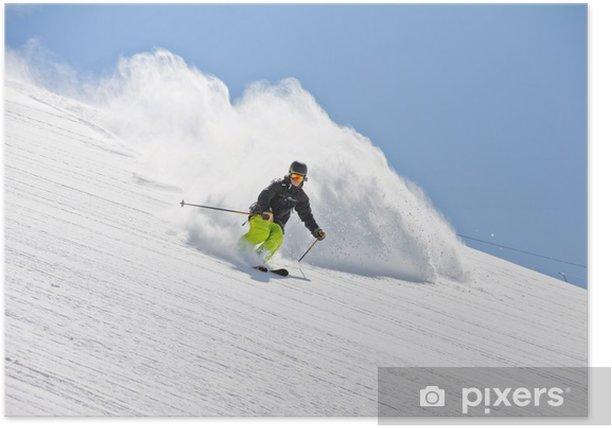 Poster Skier dans la poudreuse, freeride extrême - Liberté