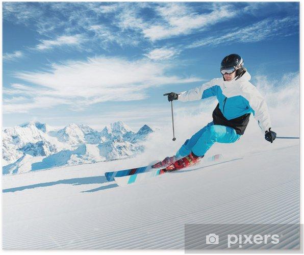 Poster Skier dans les montagnes, préparés jours pistes et ensoleillé - Sports d'hiver