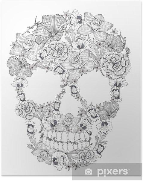 Skull from flowers. Poster - Backgrounds