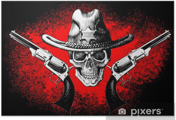 skull with revolver Poster - Life