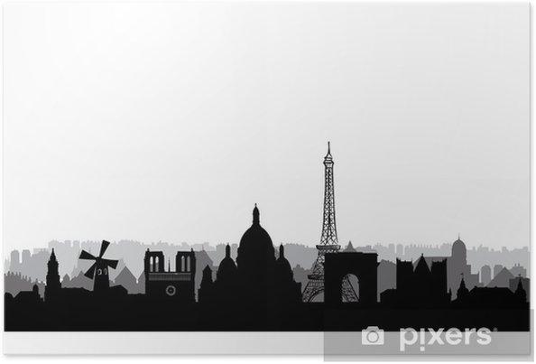 2ef7f521c2d8db Poster Skyline van Parijs. Parijs stadsgezicht met beroemde  bezienswaardigheden en gebouwen. reis Frankrijk achtergrond