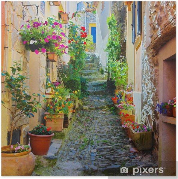 Poster Smalle en kleurrijke steegje in een dorpje in de Provence -
