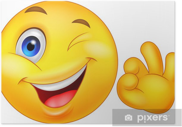Smiley emoticon with ok sign Poster - Happiness